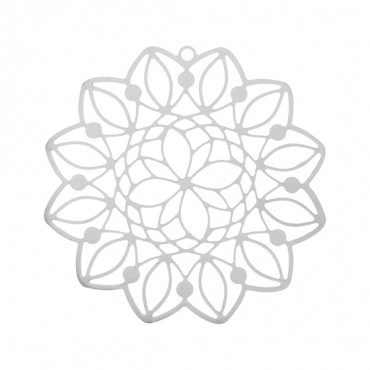"1 1/2"" SILVER FLOWER MEDALLION"