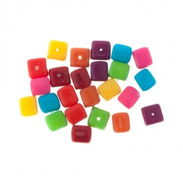 9mm Czech Glass Cube Beads