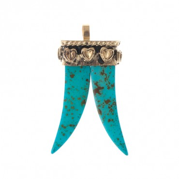 TURQUOISE DOUBLE HORN PENDANT