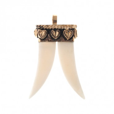 IVORY DOUBLE HORN PENDANT