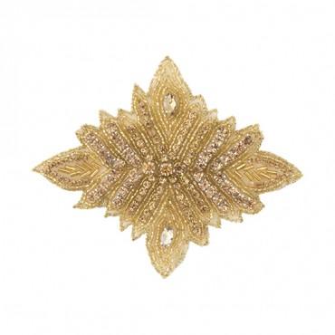 "4 1/2"" Diamond Leaf Rhinestone Applique"