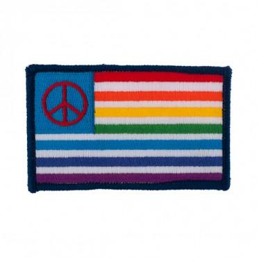 """3 1/2"""" Rainbow Peace Flag Applique"""