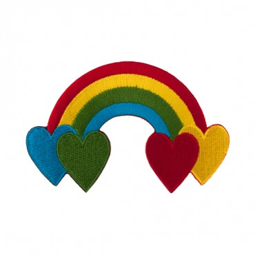 "3 3/4"" (96mm) Rainbow Heart Applique"