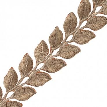 "1 1/8"" Leaf Iron-on Metallic Trim"