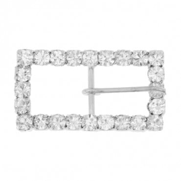 "1 1/4"" x 1/2"" Rectangular Rhinestone Buckle with Prong"