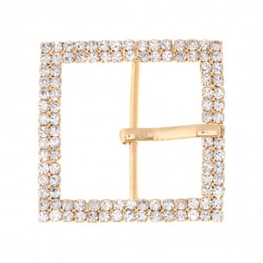 "1 1/2"" Square Double Row Rhinestone Buckle"