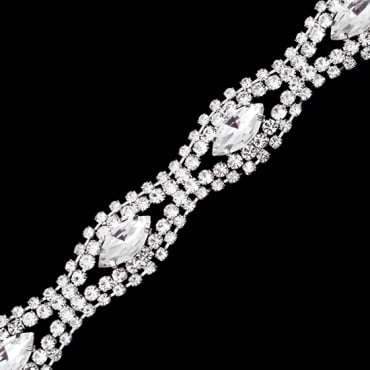 "3/4"" Diamond Wave Rhinestone Trim"