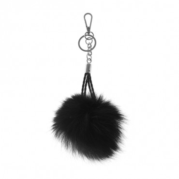 "6"" Fox Pompom with Leather Strap"
