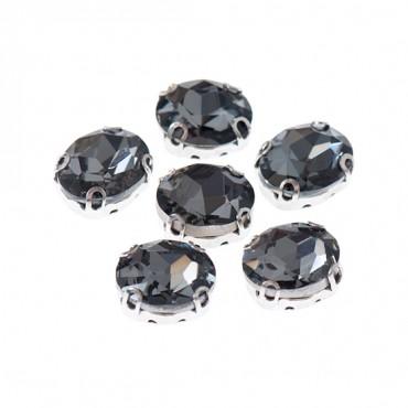 Brilliance 6x8mm Oval Sew-On Jewel w/ Setting