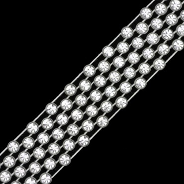 SS9 7-ROW RHINESTONE BANDING - CRYSTAL/CLEAR/WHITE THREAD