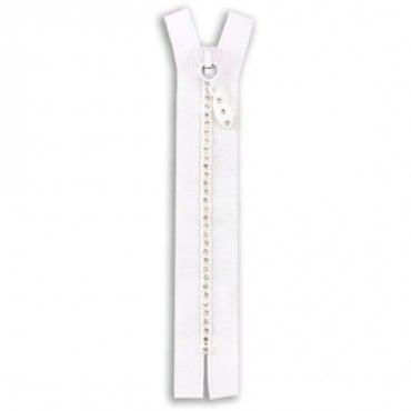 "6"" RHINESTONE ZIPPERS - WHITE/CRYSTAL"