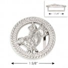 "1 5/8"" RND COWBOY BUCKLE - NICKEL"