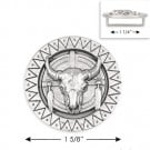 "1 5/8"" RND BULL BUCKLE - NICKEL"