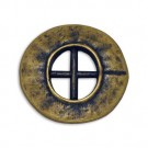 Crossed Bars Hammered Metal Button