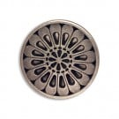 METAL BUTTON WITH SHANK AND FLORAL DESIGN