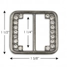 "1 1/2"" X 1 5/8"" R.S. BUCKLE - CRYSTAL GUNMETAL"