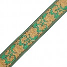 "1 ¼"" Metallic Jacquard Green/Gold"