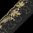 "2"" LEAFY EMBROIDERY SEQUIN LACE ON NET"