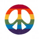 "2 7/8"" (74mm) Rainbow Peace Sign Applique"