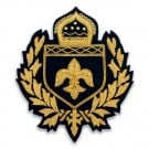 "5"" x 4"" LARGE  FLEUR DE LIS CREST - GOLD ON BLACK"