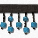 "1.25"" MARBLEIZED BEADED FRINGE - TURQUOISE/BLACK"