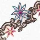 "2.5"" EMBROIDERY BEADED TRIM - TEAL/FUCHSIA/BROWN"