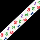 "5/8"" NUMBERS SINGLE FACE SATIN RIBBON - WHITE MULTI"