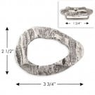 "2 1/2""X3 3/4""OVAL METAL BUCKLE - ANTIQUE SILVER"