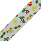"1.5"" THE BEACH PRINTED RIBBON - LIGHT BLUE MULTI"