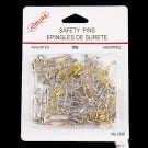 100 ASSORTED SAFTY PINS - SILVER & GOLD MIX