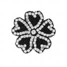 "3"" BEADED HEART SHAPED FLOWER APPLIQUE"