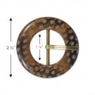 "2 1/2"" WOOD FEATHER BUCKLE W/PRONG"