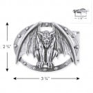 "2 3/4"" X 3 3/4"" GARGOYLE METAL BUCKLE-All-SILVER"