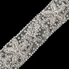 "2"" Bullion Floral Rhinestone Beaded Trim"