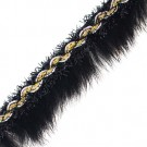 "1"" Black Rabbit Trim with Tinsel"
