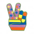 "2"" X 2 7/8"" PEACE SIGN HAND W STAR APPLIQUE"
