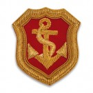 "3"" x 2.75"" BULLION CREST ANCHOR - GOLD/RED"