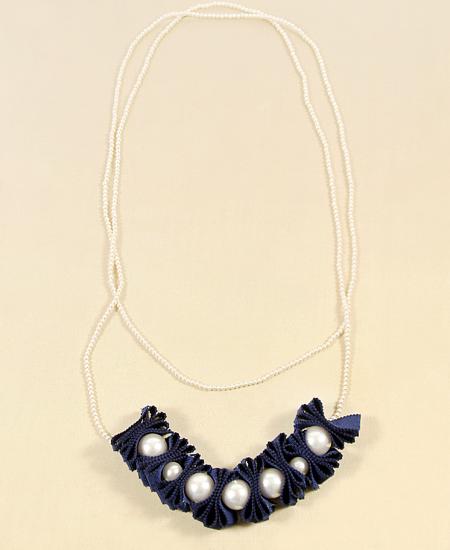 Pearl & Chromspun Grosgrain Ribbon Necklace