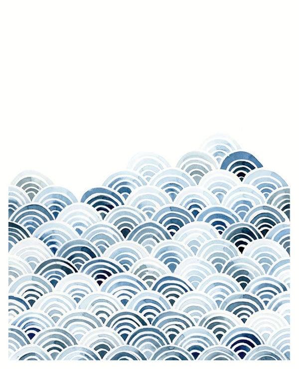 Watercolor Abstract Wave Print