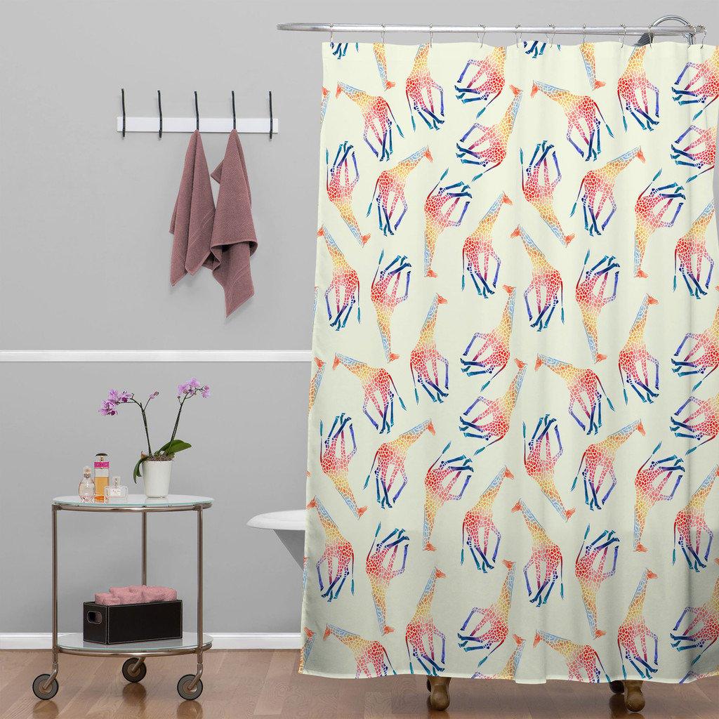 Flamingo bathroom decor - Watercolor Giraffe Shower Curtain