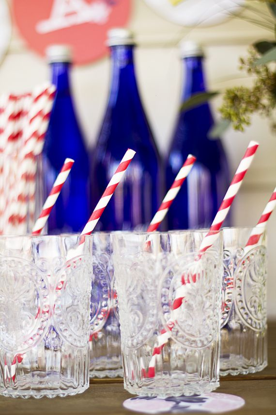 Beautiful Memorial Day Glasses with Striped Straws and Blue Bottles