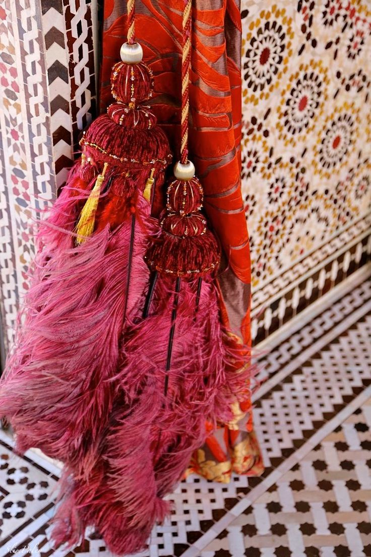 Magenta and Orange Feather Tassel