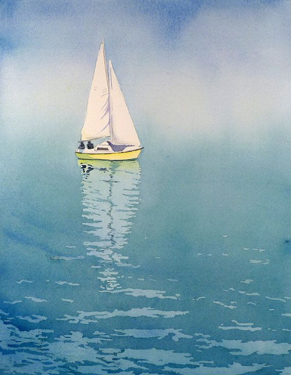 Sailboat Watercolor by Etsy Artist