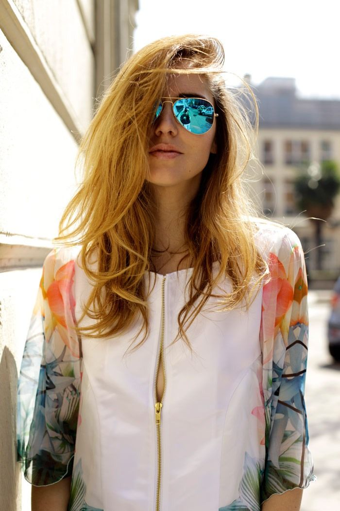Blue Mirrored Sunglasses on Girl with Long Hair