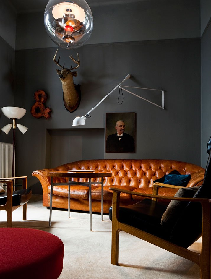 Gray Living Room with Leather Sofa