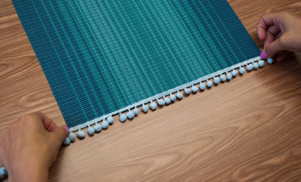 Measuring Pompom Trim for Placemat
