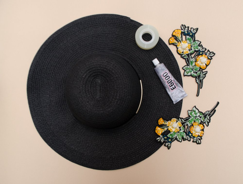 2a6d137bffa This easy DIY will take you all of 10 minutes. Add a little glitz and glam  to a sun hat by adding some beaded flower appliques.
