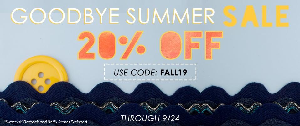9.21.18 Goodbye Summer Sale
