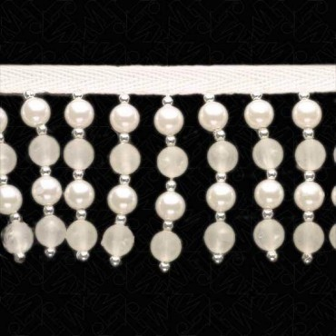 "2.5"" PEARL / FROSTED BEADED FRINGE - WHITE/FROSTED/SILVER"