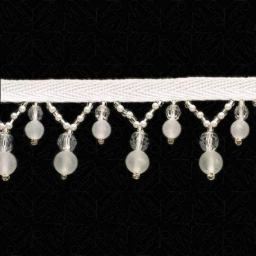 """1 1/4"""" (32mm)  Pearl / Frosted Beaded Fringe"""